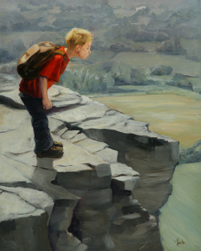 Fearless: Heather Burton, Fearless child on a cliff, hiking, backpacking, boy, Vromans Nose, Middleburgh, NY